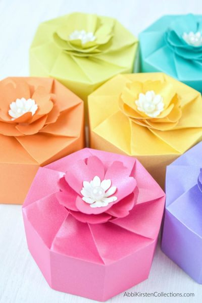 Paper Box Template: DIY your own treat or favor boxes easily with these free paper box templates. Print the PDF files or use the SVG cut files with Cricut!