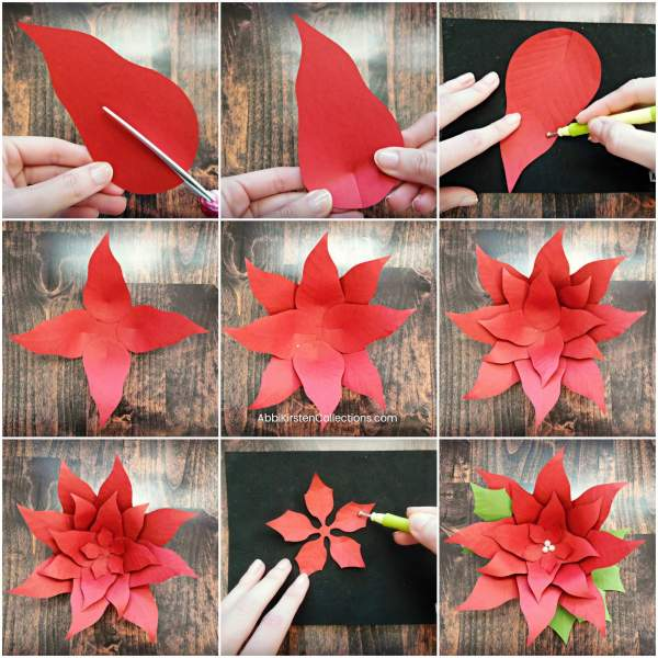 How to make your own giant paper poinsettia flowers for Christmas holiday decor. Download paper poinsettia printable PDF templates and SVG cut files here and follow the step by step tutorial!