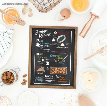 DIY Christmas Signs with VInyl: Make your own custom recipe sign as a Christmas gift or specail decoration. Free recipe SVG Files for Cricut or Silhouette