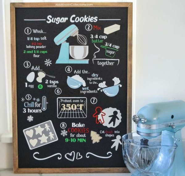 DIy Christmas sign with permanent Cricut vinyl. Christmas recipe sign for kitchen.