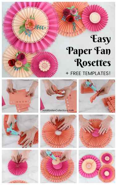 How to make easy paper fan hanging rosettes using your Cricut machine. Plus download 3 free templates!