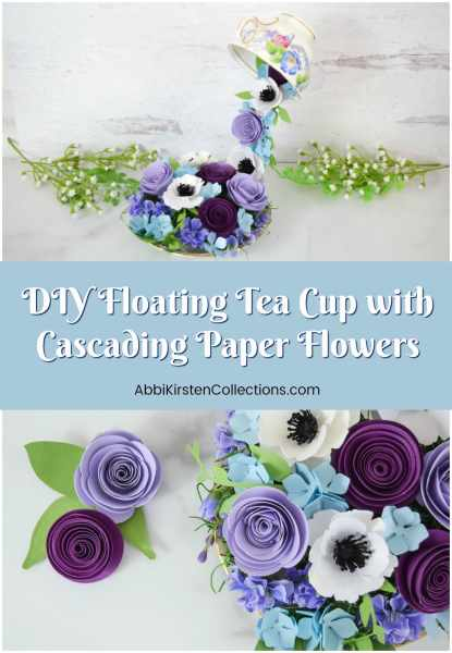 Step by step tutorial for making floating teacups with cascading paper flowers. This craft makes a beautiful handmade gift for Mother's Day!