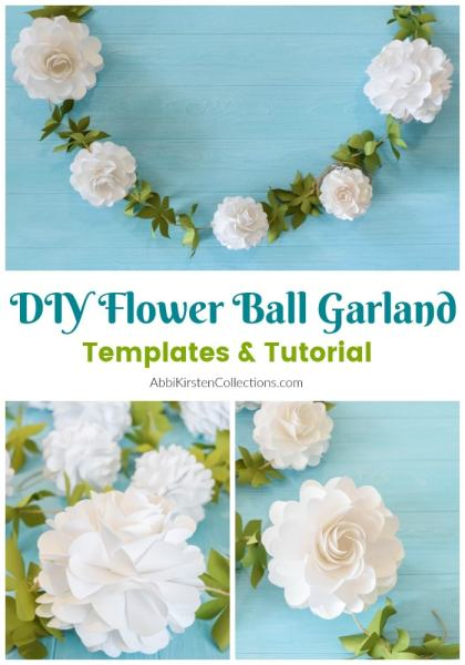 DIY paper flower ball garland. Templates and tutorial.