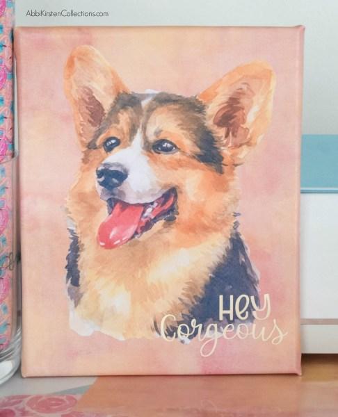 Watercolor corgi pet art with Cricut.