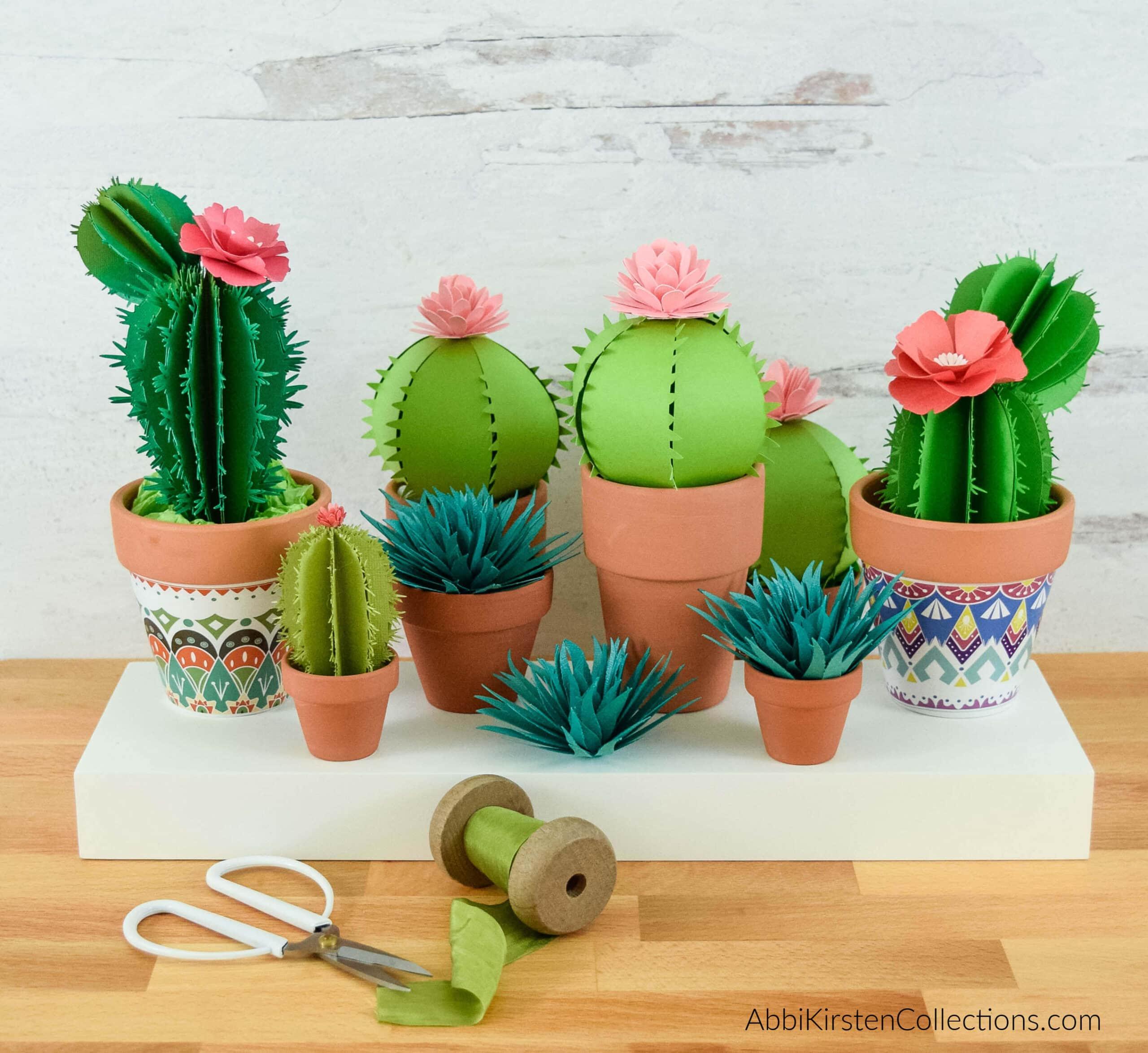 Paper Cactus Tutorial and Templates – 3D Paper Cactus Craft