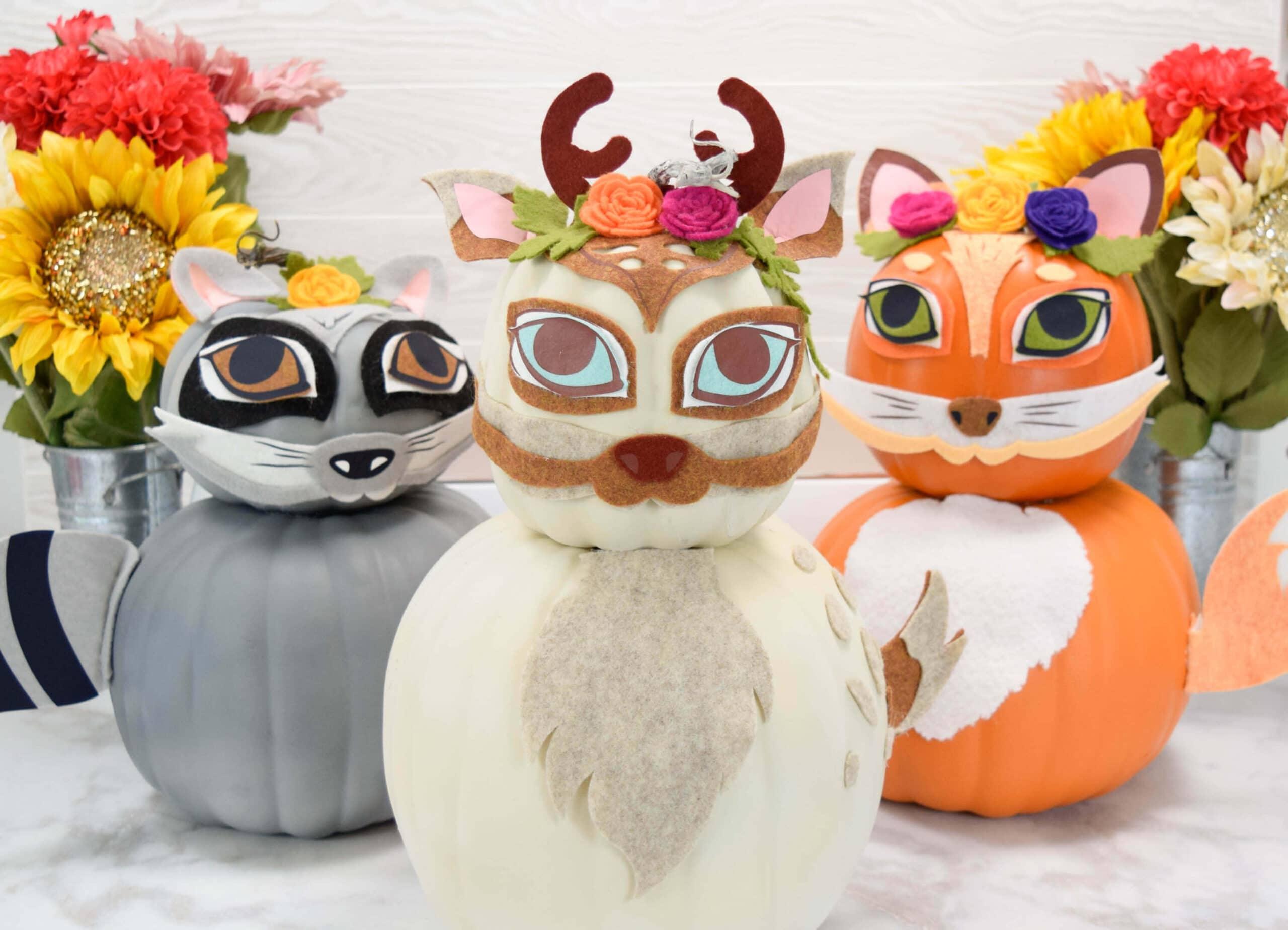 Woodland Animal Pumpkin Craft Tutorial – Creative Pumpkin Decorating Ideas