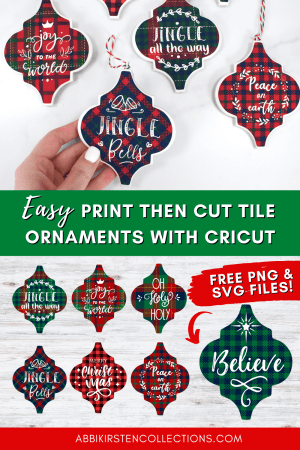 How to Make Tile Arabesque Christmas Ornaments with Cricut - Use our free tile templates for iron-on vinyl and print then cut tile christmas ornaments.