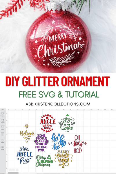 DIY Glitter Ornaments with FREE Christmas SVG cut files for Cricut.