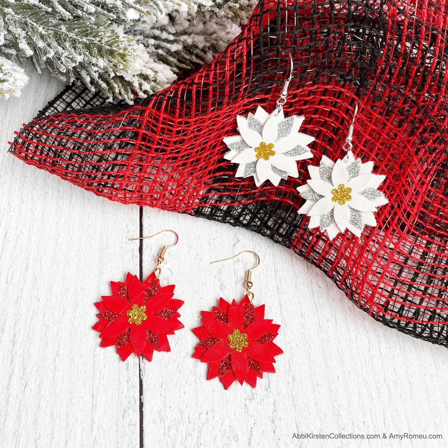 DIY Christmas Poinsettia Faux Leather Earrings
