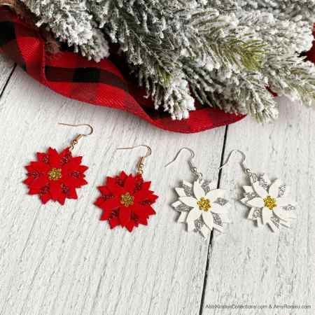 Faux Leather Earrings Tutorial. DIY Christmas Poinsettia Faux Leather Earrings Step by Step Tutorial and Free Templates for Cricut.