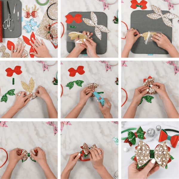 How to make hair bows from faux glitter leather with your cricut machine.