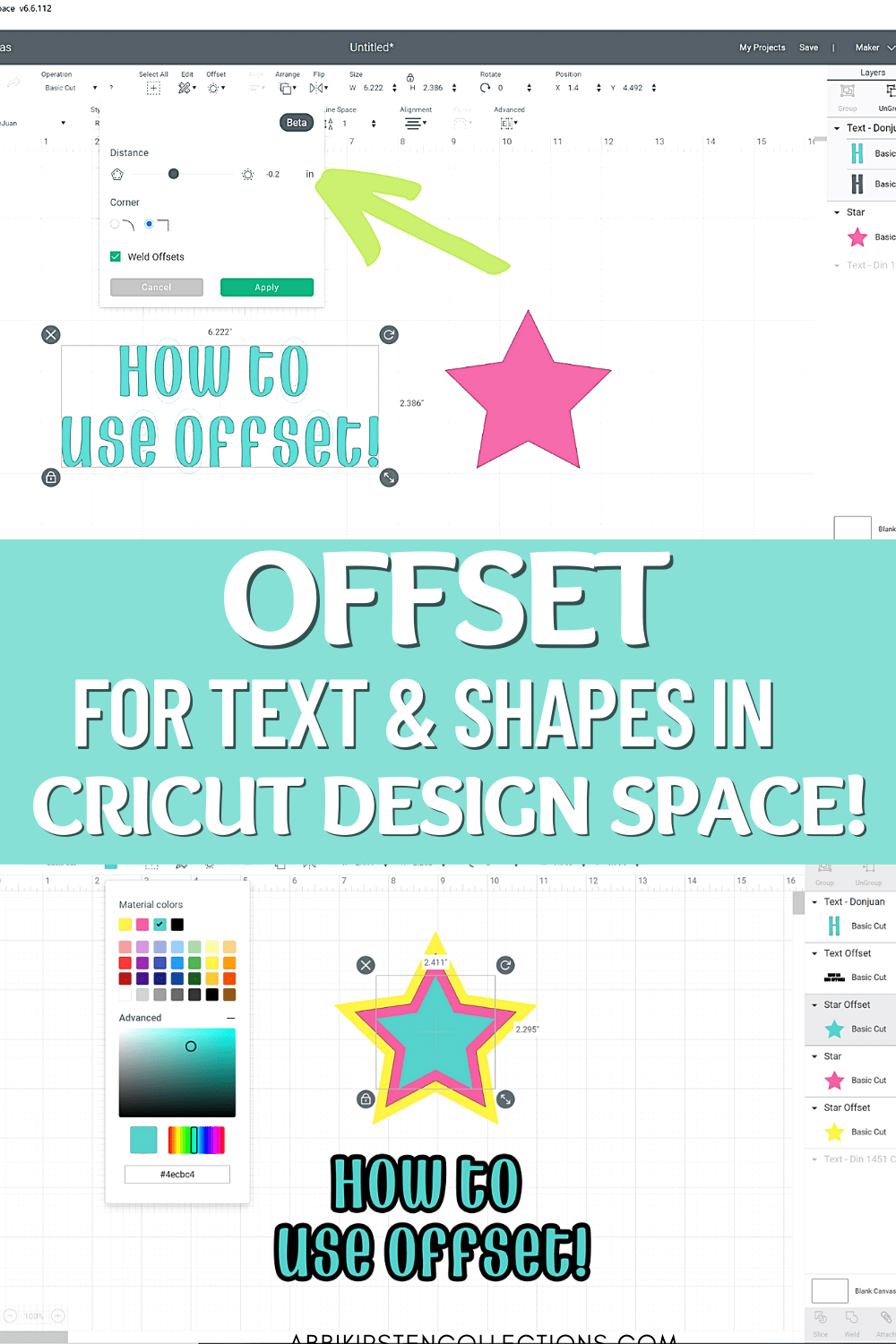How to Use Offset in Cricut Design Space to Create Layers and Shadows!