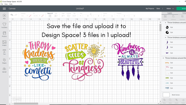 How to upload 3 SVG files as one with the new cricut design space changes and updates.