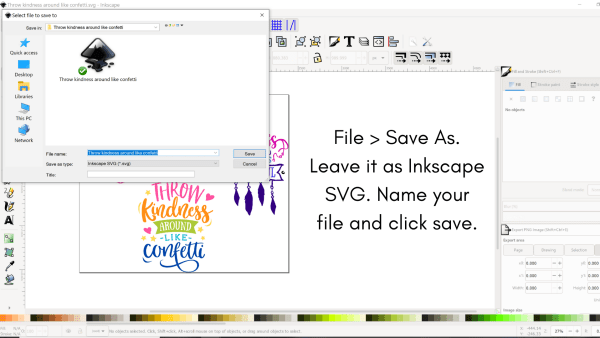 How to save an SVG file in Inkscape.