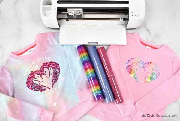 DIY unicorn shirts with Cricut and heat transfer vinyl.