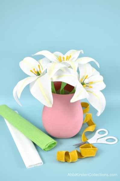 Easter lily pdf templates and svg cut files.