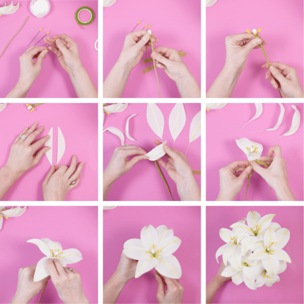 Create easy Easter paper lily flowers from crepe paper. Step by step tutorials for making paper lilies with pdf printable and SVG templates.