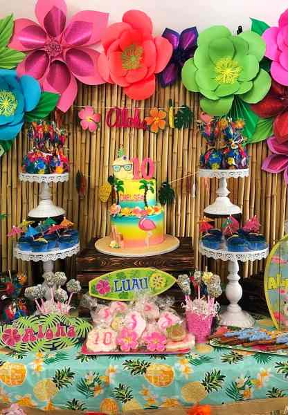 Tropical Summer luau party backdrop with large paper flowers.