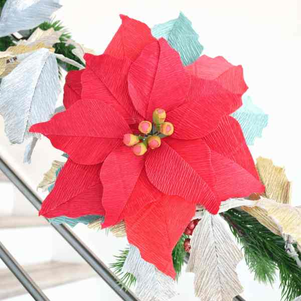 Large red crepe paper poinsettia flower craft.