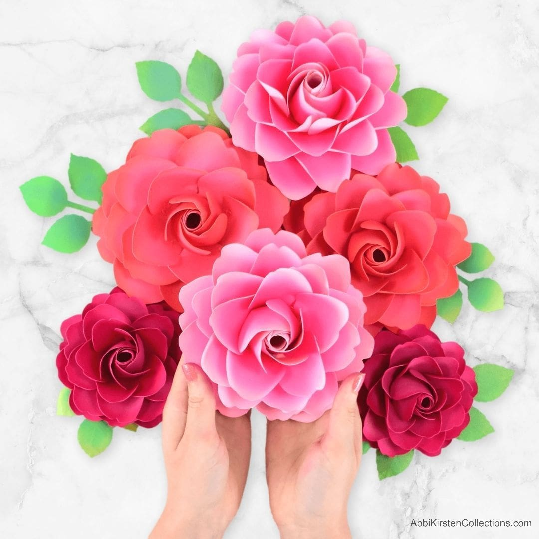 Full Bloom Garden Stemmed Paper Rose Tutorial with Templates