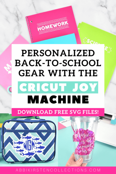 Cricut Joy Smart Vinyl tutorial for beginners. Use your Cricut Joy to personalize your kids back to school gear with free SVG Cricut files!