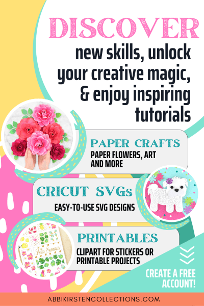 Download hundreds of free SVG files for Cricut on Abbi Kirsten Collections. Enjoy free paper flower templates, SVG files and printables!