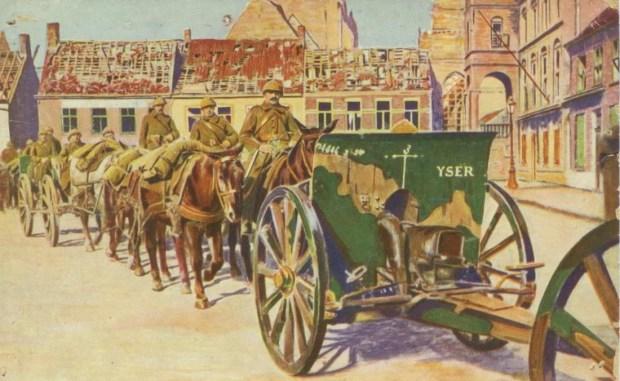 Armée Belge - Convoi d'artillerie traversant une ville bombardée. Trichromie artistique  - Imp. A. Leroy et R. Cremieu, Paris