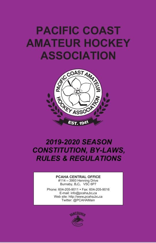 PCAHA rulebook 2019-2020