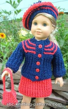 American Girl Doll Vintage Outfit (Cardigan and Skirt)