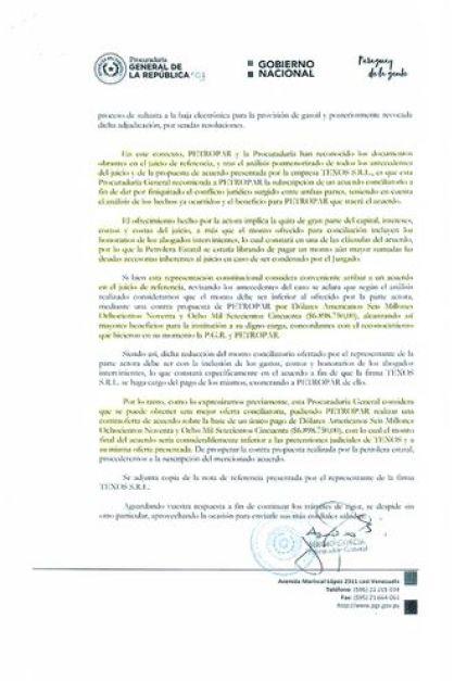 Uno de los documentos publicados por Denis Lichi, en el cual la Procuraduría recomienda la firma del acuerdo.