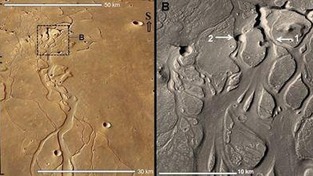 Descubren una red de cavernas subterráneas en Marte