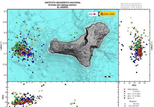 El Hierro registra su mayor temblor desde que comenzó la erupción del volcán submarino en 2011