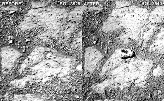 Una roca aparece en Marte «de la nada» frente a las cámaras del Opportunity