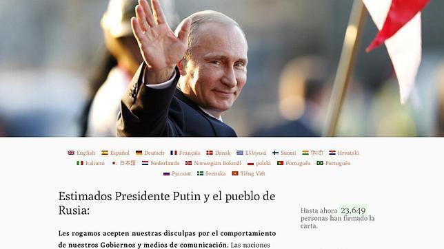 Putin abre una web para que los occidentales le pidan perdón