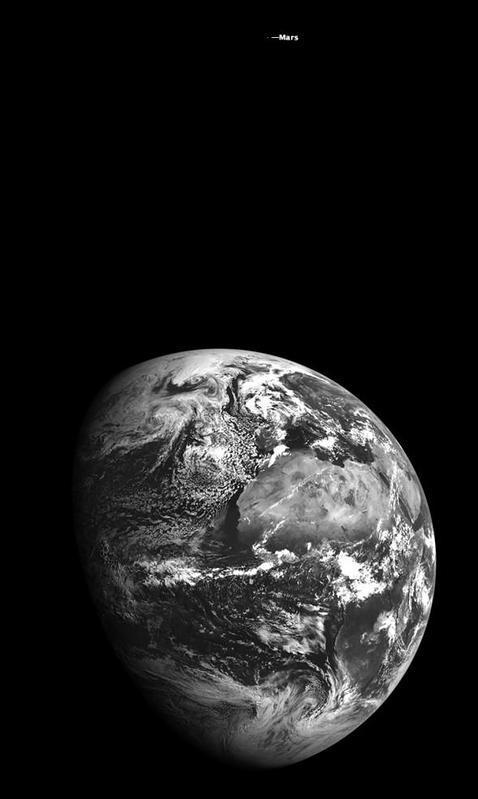 Marte y la Tierra, en una sola imagen
