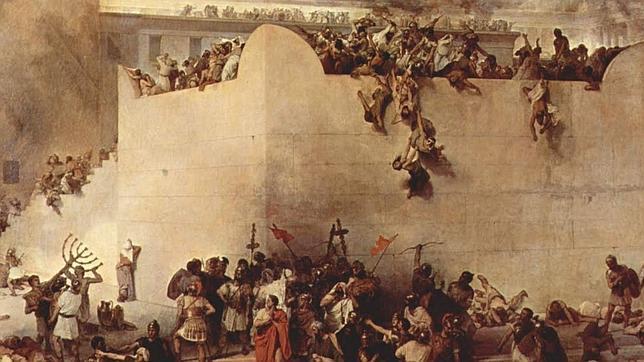 Cuadro que representa el asedio y destrucción de Jerusalén por el futuro emperador Tito