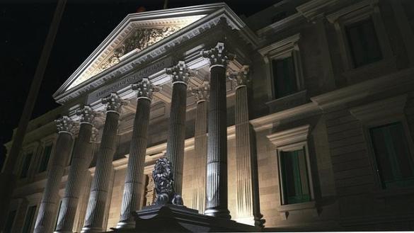 Resultado de imagen de el congreso de los diputados noche