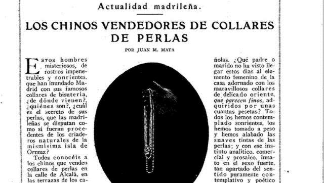 Los chinos vendedores de collares de perlas que inundaron Madrid en los años 20