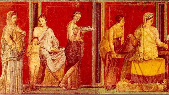 Uno de los bellísimos frescos conservados en las villas de Pompeya