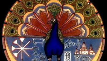Representación de Melek Taus, el ángel caído a través del símbolo de un pavo real