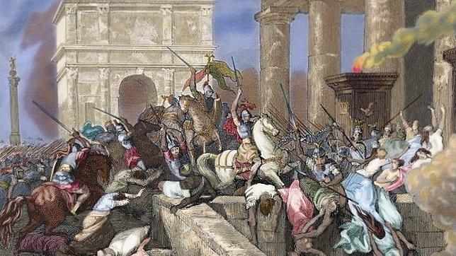 Ilustración de «Saqueo de Roma por parte de Alarico»