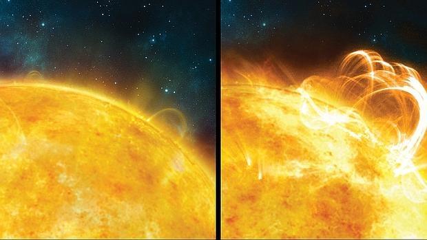 Comparación entre una llamarada solar y una súper llamarada