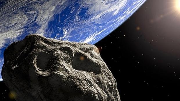 Representación de un asteroide acercándose a la Tierra