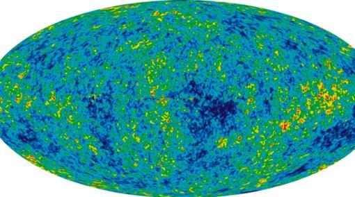 Radiación de fondo de microondas. Contiene información sobre cómo y por qué se formaron los gérmenes de las galaxias. En este caso, ha sido usada para entender cómo podrían surgir el espacio y el tiempo sin contar con la gravedad
