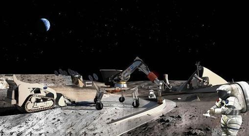 Ilustración de cómo sería una explotación minera en la Luna