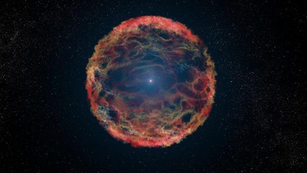 Recreación artística de una supernova