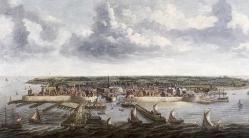 Puerto de Flesinga, de donde partió Carlos hacia Laredo, pintado por Petrus Segaers