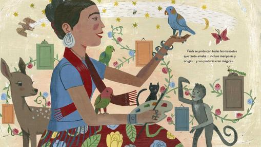 Ilustración de «Frida Khalo y sus animalitos»