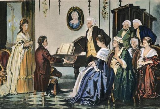 Grabado de la época que reúne a Beethoven y Mozart