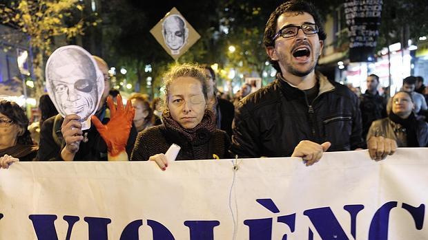 Ester Quintana, en el centro, durante una manifestación